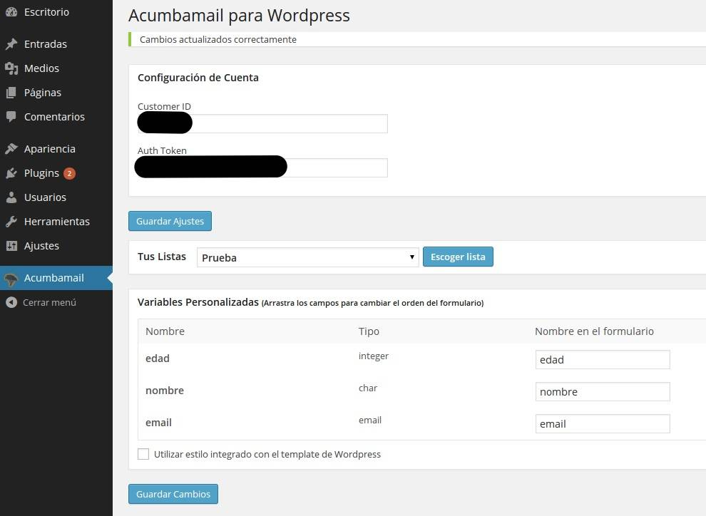 Plugin: acumbamail para WordPress