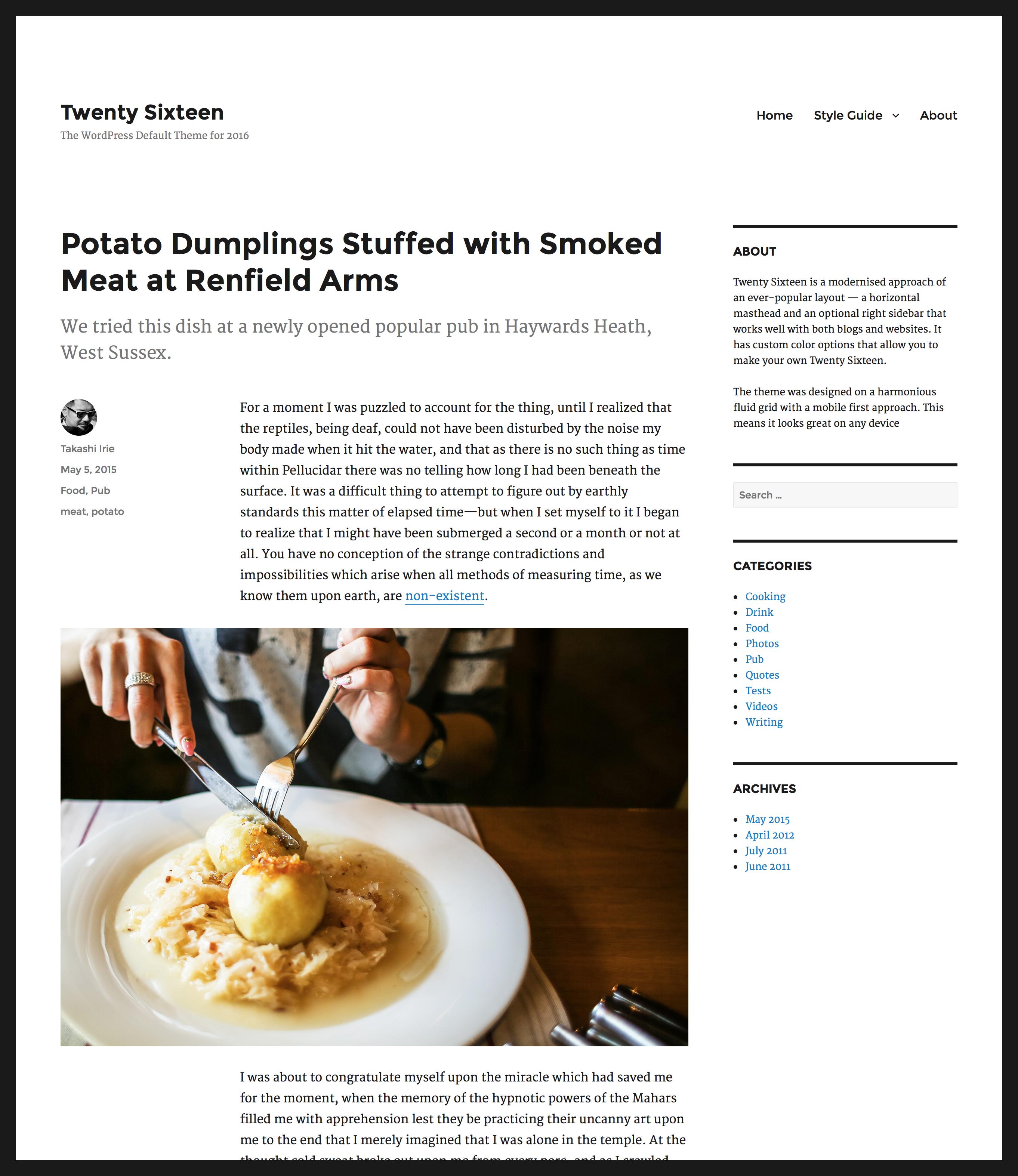 Twenty Sixteen el nuevo tema por defecto de WordPress 4.4 1