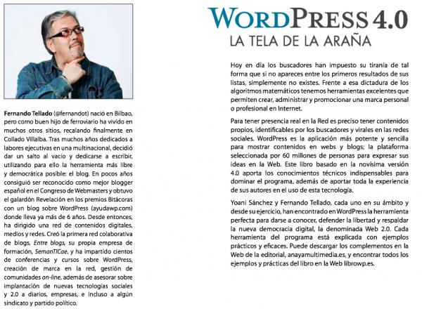 Contraportada de libro WordPress la tela de araña