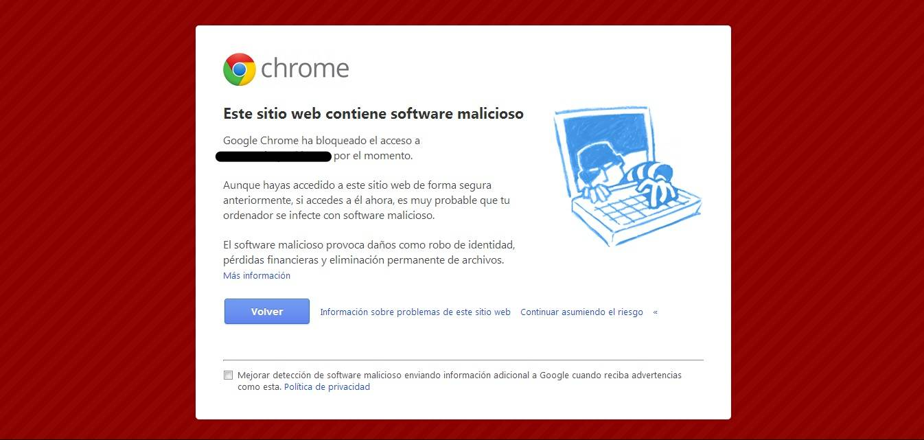 website contains malicious software