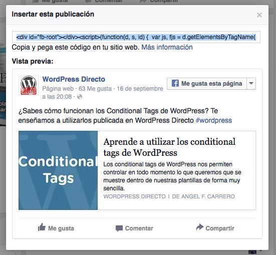Insertar publicacion de Facebook en WordPress 2