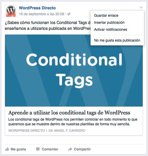 Insertar publicacion de Facebook en WordPress