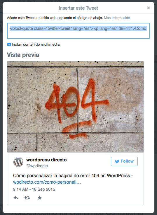 Insertar publicacion de Twitter en WordPress 2