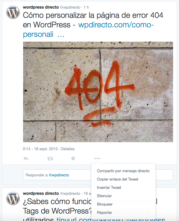 Insertar publicacion de Twitter en WordPress