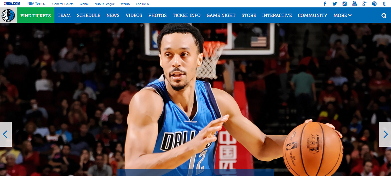 Webs famosas desarrolladas con WordPress - Dallas Mavericks
