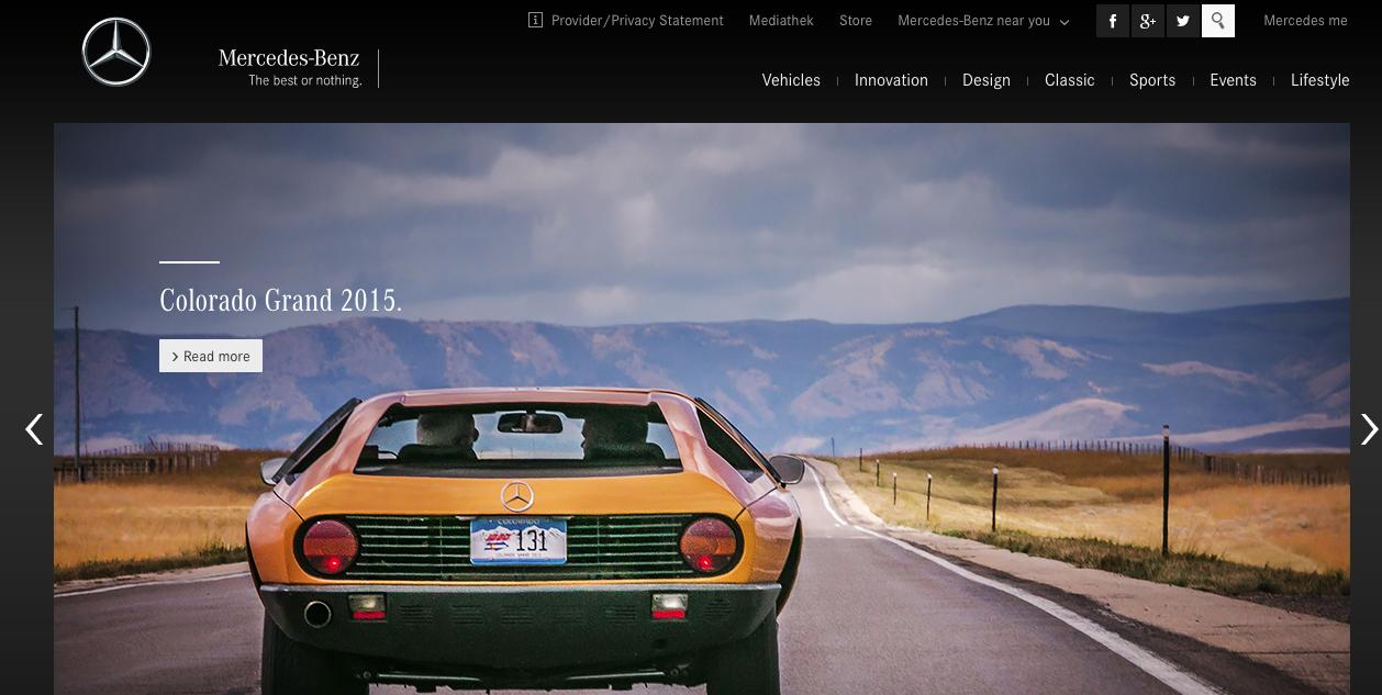 Webs famosas desarrolladas con WordPress - Mercedes Benz