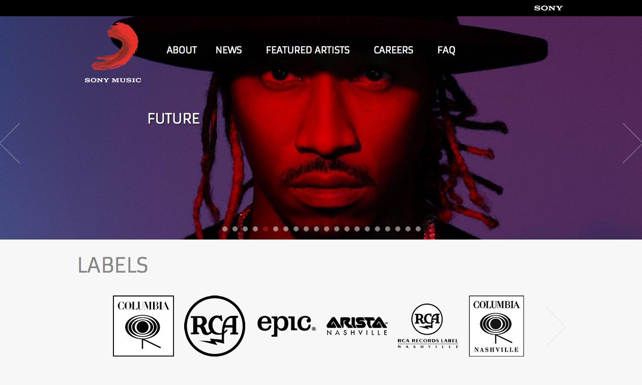 Webs famosas desarrolladas con WordPress - Sony Music