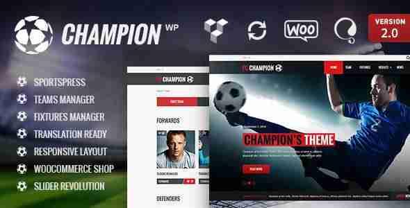 Plantillas de WordPress para equipos de fútbol - Champion