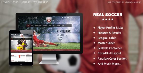 Plantillas de WordPress para equipos de fútbol - Real Soccer a535e04d00568