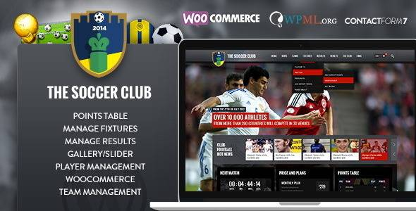 Plantillas de WordPress para equipos de fútbol - The Soccer Club