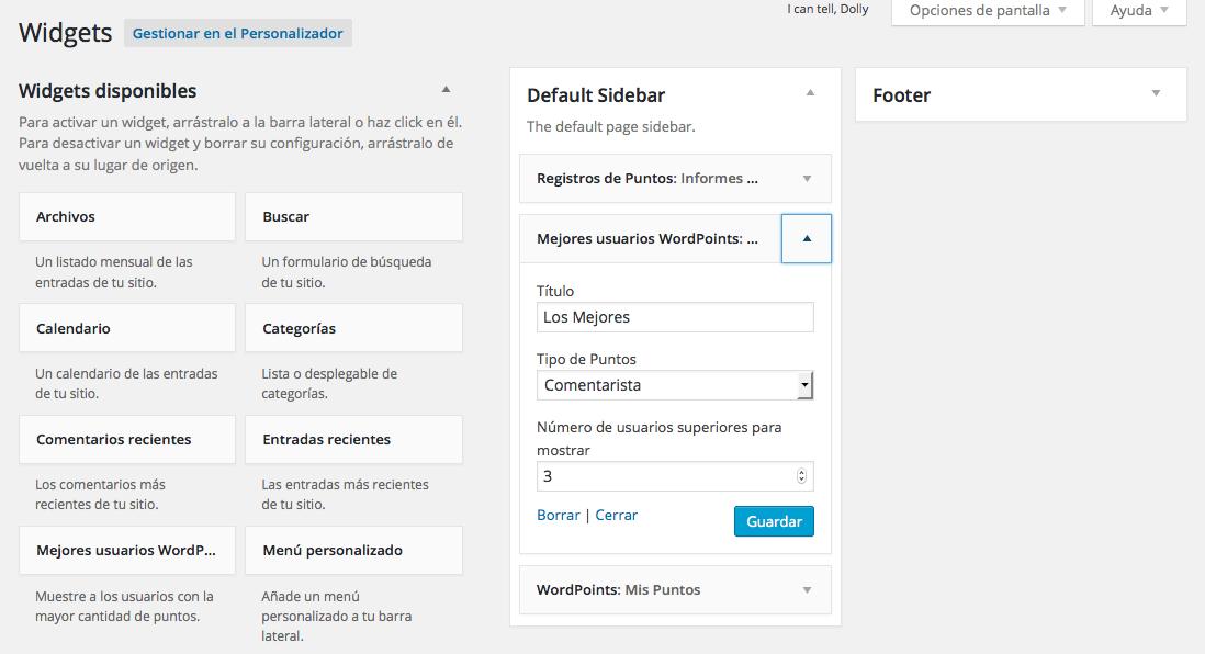 Cómo gamificar WordPress añadiendo un sistema de puntos - Widgets