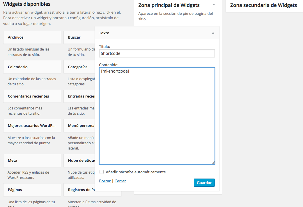 shortcodes en WordPress - Añadiendo un shortcode en el widget de texto