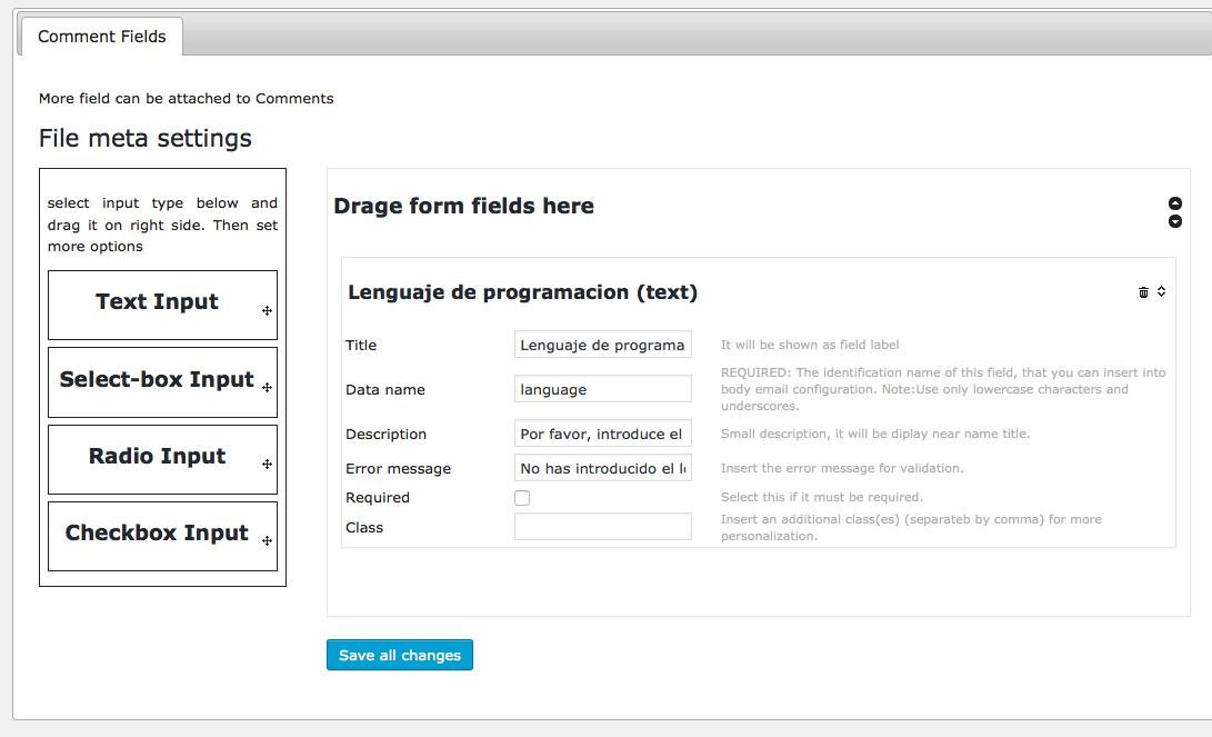 Formulario de comentarios - Configurando el campo