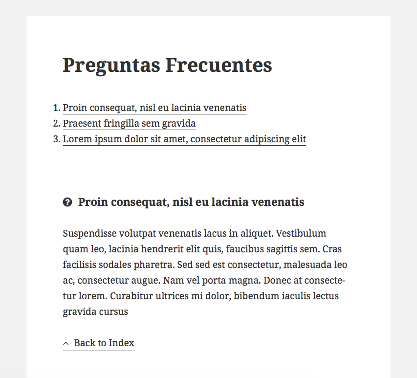 FAQ en WordPress - Mostrar el FAQ en modo lista