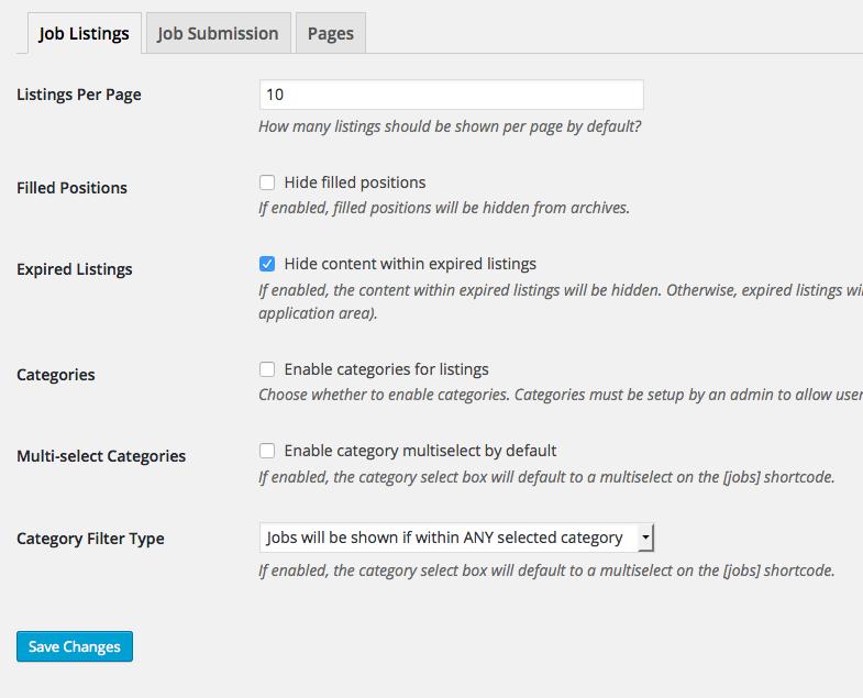 web de empleo con WordPress - Configuraciones avanzadas del plugin