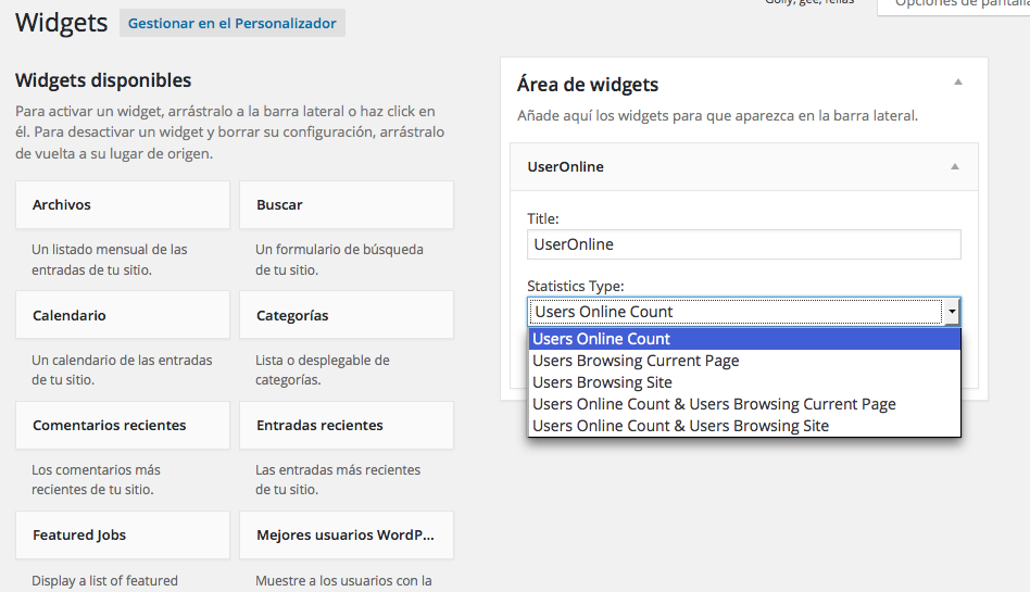 usuarios online en WordPress - Añadiendo el widget UserOnline