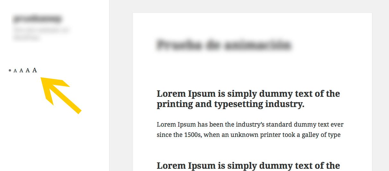 texto ajustable en WordPress - Accesibility Widget en la parte pública
