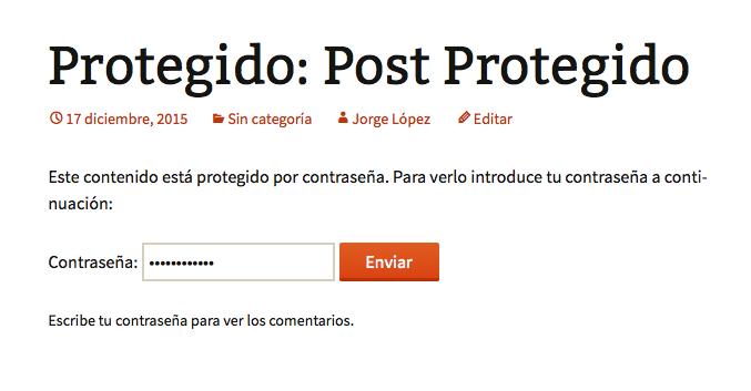 post con una contraseña - Post protegido