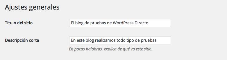 Instalar un WordPress - Ajustes Generales