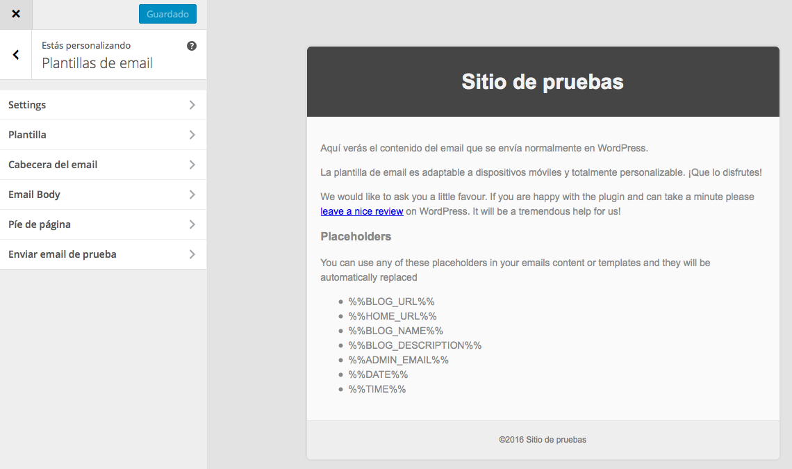 Correos de WordPress - Personalizador