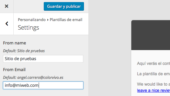 Correos de WordPress - Ajustes