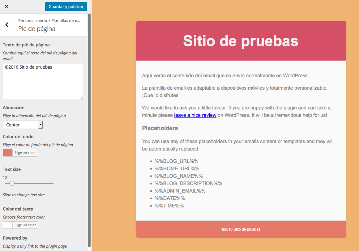 Correos de WordPress - Pie