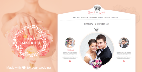 Plantillas de WordPress para una boda