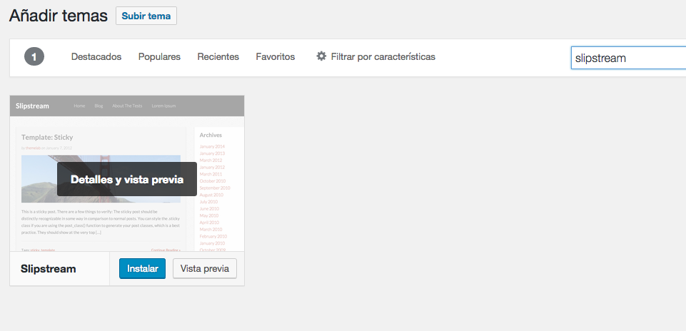 instalar un tema en wordpress