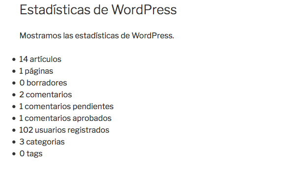 mostrar estadísticas en WordPress