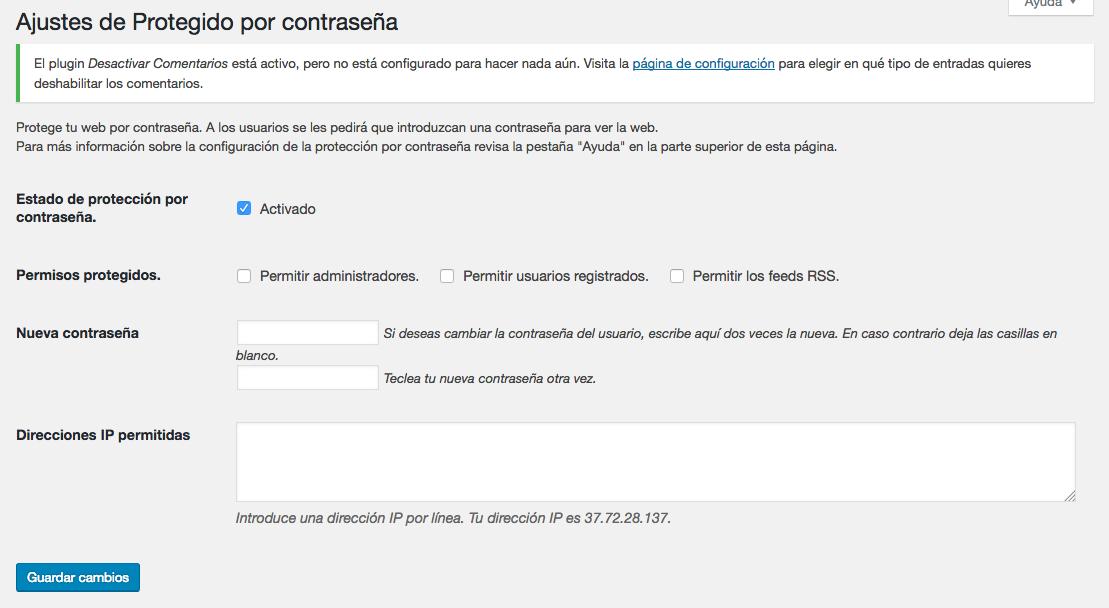 WordPress con una contraseña