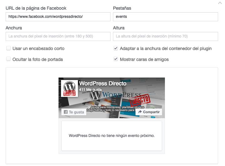 mostrar eventos de Facebook