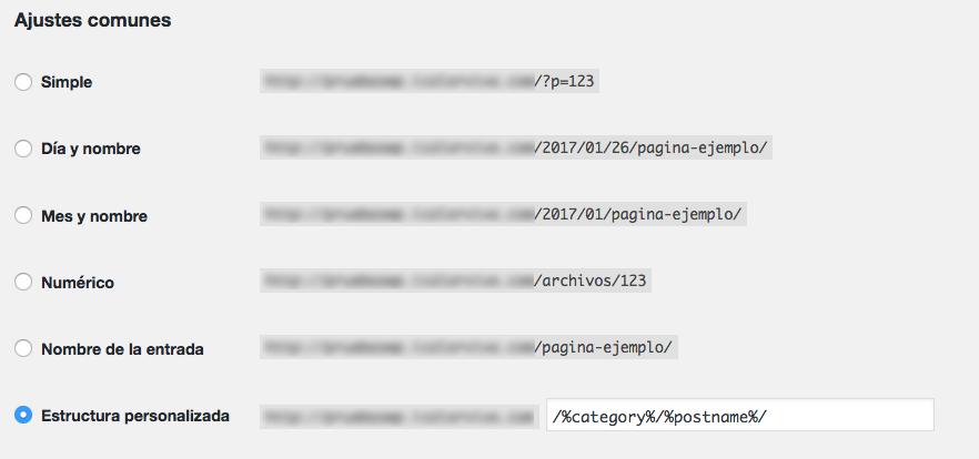 categoría y subcategoría en las URLs