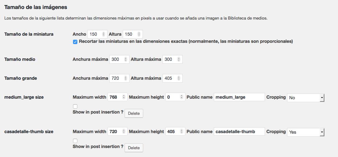 miniaturas en WordPress