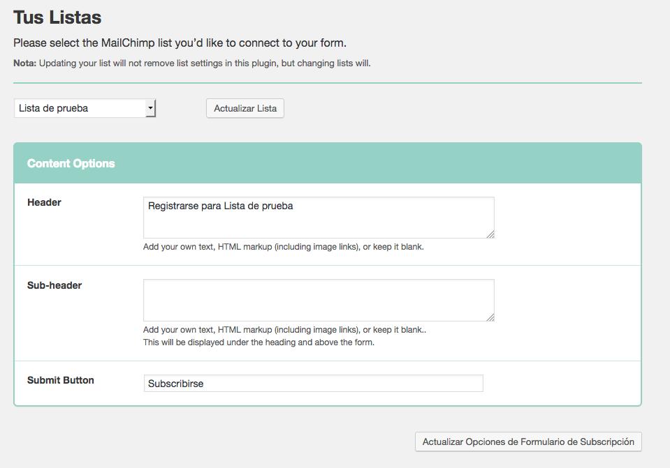 formulario de suscripción