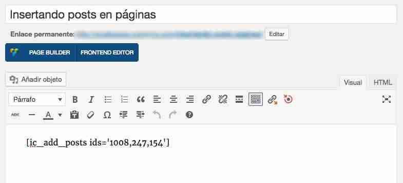 posts dentro de páginas