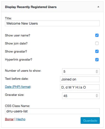 últimos usuarios registrados